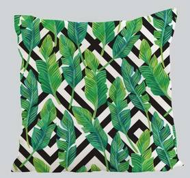 Decorative pillow with a leaf motiff